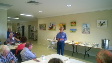 Bernice Seton leading a birdwatching session at the Centre